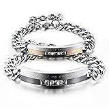 HITOP Männer Frauen 2 Stück Edelstahl Armband-Verbindungs-Handgelenk-CZ-Silber-Schwarz-Rosen-Goldpanzerkette