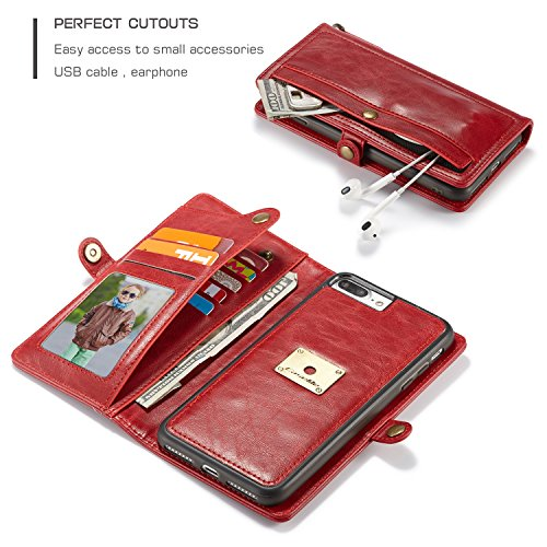 SDDMALL CaseMe Wallet Case [Retro Style] [Handgelenkschlaufe] Für iPhone 7 plus Card Case Premium Schützende PU Leder Flip Magnetic Cover ( Color : Black ) Red
