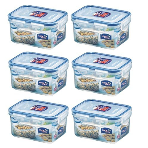 Set of 6 Lock and Lock Rect 470 millilitres Food Container HPL807