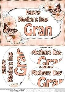 A5Festa della mamma Gran Farfalle e fiori Oval pyramage por Carol Clarke
