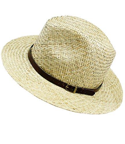 Fiebig Damenstrohhut Strohhut Sommerhut Sonnenhut Cowboyhut Panamahut große form Urlaubshut Hut mit Ziergürtel für Frauen (FI-16534-S17-DA3-111-55) in Natur, Größe 55 inkl. (Hut Stroh Safari)