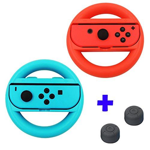 QUMOX Controlador de Volante Mango Grip L + R Kit de soporte para Viaje - Rojo / Azul & Cubiertas de palo de agarre para pulgar, Negro para Nintendo Switch Joy-Con