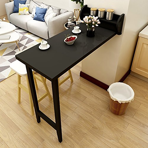 Wand-Bartisch Massivholz-faltender Speisetisch-einfacher Weißer Haushalts-Wohnzimmer-hoher Tabellen-kreativer Orange Kaffeetisch-Schwarzes (Farbe : Schwarz)