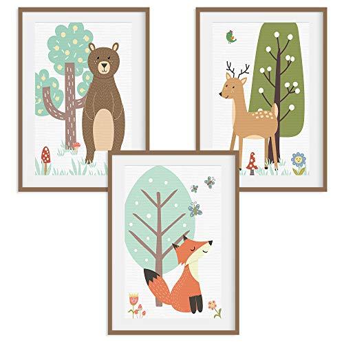 HappyWords® 3er Bilder Set - DIN A4 ohne Bilderrahmen | Bilder für Kinderzimmer & Bilder Babyzimmer | Junge Mädchen Baby | Kinder-Poster | Tiere Kinderbilder Kinderzimmer | (3er Set Waldtiere Retro)