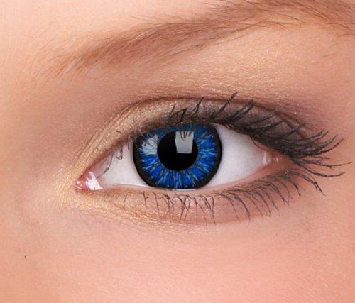Farbige Kontaktlinsen blau - ohne Stärke - AQUA blue - für helle & dunkle Augen - gratis Kontaktlinsenbehälter - zwei meeresblaue Linsen