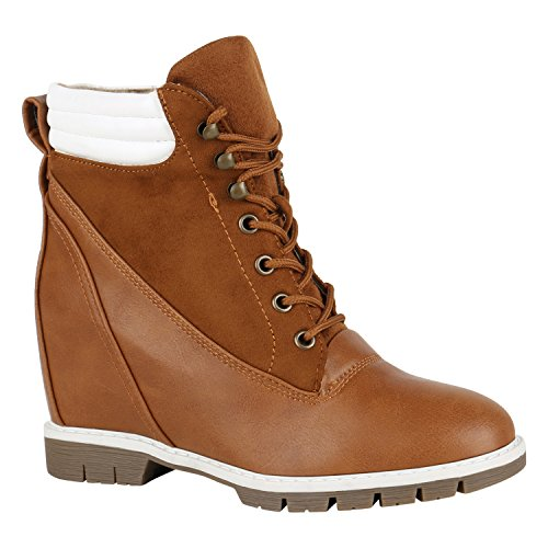 Damen Schuhe Stiefeletten Keilabsatz Keilstiefeletten Profilsohle 150408 Braun Weiss 39 Flandell