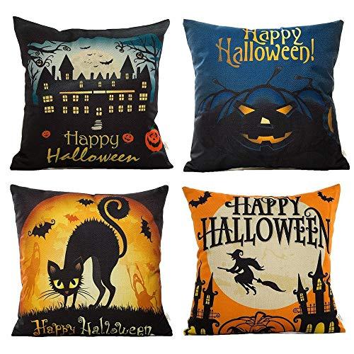Kürbis Square Kostüm - WH 4er Pack Happy Halloween Square Dekokissen Kissenbezug Fledermaus Kürbis