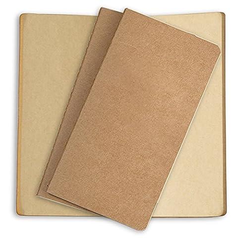Nachfüllung (3er-Pack) für Reisetagebücher aus Leder oder nachfüllbare Tagebücher–Set mit 3Design-Nachfüller für Leder-Reisetagebuch von Sovereign Gear 3 Brown - Craft