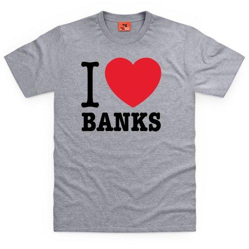 Square Mile I Heart Banks T-Shirts, Herren Grau Meliert