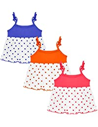 Orange and Orchid Baby Girl Casual Frock - Pack of 3