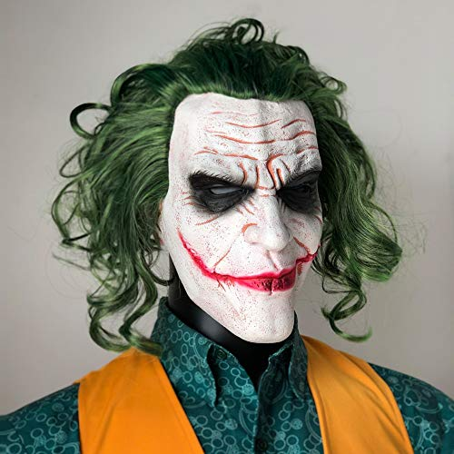 Joker Maske Film Batman The Dark Knight Horror Clown Cosplay Latex Masken Mit Grünen Haaren Perücke Scary Halloween Party Kostüm Requisiten