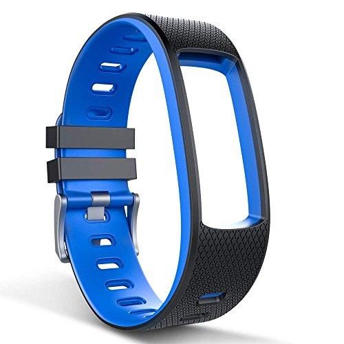 endubro Cinturino per Fitness Tracker i3HR & i7HR   i6HR   i6HR C & Molti Altri Modelli Realizzato in TPU Skin-Friendly con Chiusura antiallergica (Nero/Blu)