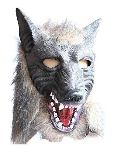MissFox Halloween Masquerade Atrezzo Asustadizo Hombre-Lobo Máscara Gris