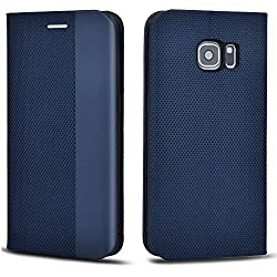 Aicoco Coque pour Samsung Galaxy S7 Housse Étui en Cuir Flip Case - Bleu