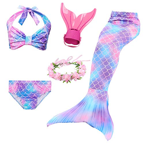 GNFUN Mädchen Meerjungfrauenschwanz Zum Schwimmen mit Meerjungfrau Flosse- Prinzessin Cosplay Bademode für das Schwimmen mit Bikini Set und Neue Monoflosse, 4 Stück Set