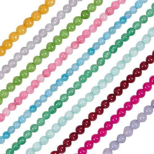 nbeads 10 Stränge Natürliche Runde Perlen Weiße Jade Perlen Stränge für Schmuckherstellung, 6mm Durchmesser, Loch: 1mm -