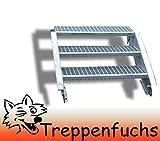 3 Stufen Stahltreppe Breite 100cm Geschosshöhe 40-60cm / Robuste Außentreppe / Wangentreppe / Stabile Industrietreppe für den Außenbereich / Inklusive Zubehör