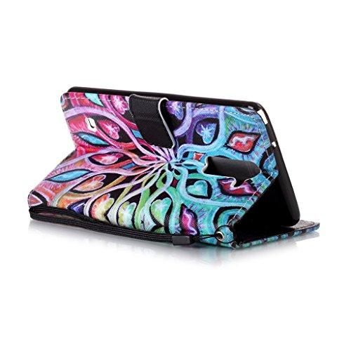 LG G Stylo 2/Stylus 2/LS775/K520 Hülle [Bildschirmschutz aus gehärtetem Glas], Grandoin Retro Leder Foliant Stoßabfangende Hülle, exzellente Qualität buntes elegantes Muster Design Premium PU Verschlu Heart Eye