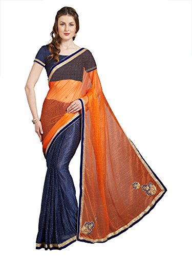 Florence Stretch Georgette Lycra Orange & Blue Embroidered Half & Half Saree with Blouse (FL-12257)  available at amazon for Rs.469