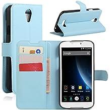 Funda Doogee X6, Funda Doogee X6 Pro, HualuBro [Protección Todo Alrededor] Premium PU Cuero Leather Billetera Wallet Carcasa Case Flip Cover para Doogee X6 / Doogee X6 Pro Smartphone (Azul)