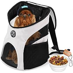 Enledy Mochila Bolsa con Malla Bolso para Gato Mascota Mochila al Aire Libre del Viaje para Mascotas del Peso Hasta 10kg (35*20*40cm) + Pet Bowl