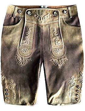 Herren Trachten Lederhose Trachtenlederhose Kurze Tracht Hell-Braun Gr.48#11