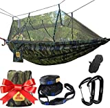 LYDUO Double Hammock with Mosquite Net Breathable Quick-drying Parachute Camping Hammock with 2 x Premium Carabiners 2 x Hammock Straps For Indoor Camping, Hiking, Backpacking, Backyard, Camouflage