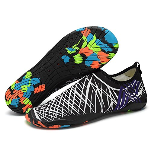 Myaikku Herren Sommer Schuhe Strandschuhe Aquaschuhe Schwimmschuhe Surfschuhe für Outdoor Sports Weiß Schwarz