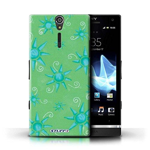 Kobalt® Imprimé Etui / Coque pour Sony Xperia S/LT26i / Bleu/Blanc conception / Série Motif Soleil Vert/Bleu