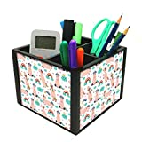 Nutcase 4 Slot Office Wooden Desktop Storage Holder Stand for Pen Pencil TV Remote Control Stationery Mobile Phone - Rainbow Unicorns