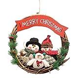 Wawer 36 CM Rattan-Kreis Puppen Schneemann Hirsch Anhänger Tür Wand hängende Ornamente Weihnachtskranz für Xmas Party Garland Puppen Weihnachts Dekoration (B)