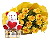 Ferns N Petals Care Express Roses with Ferrero Rocher and Soft Toy (Bunch of 12)