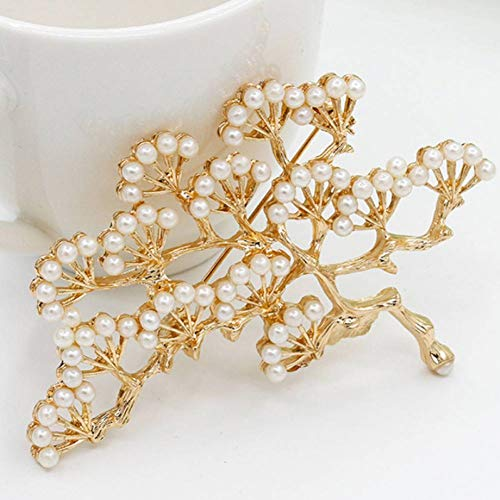 PCBDFQ Brosche Elegante Perle charmante Retro Kiefer Brosche Party Revers Pin Kragen Tipps Hochzeit Ornament -