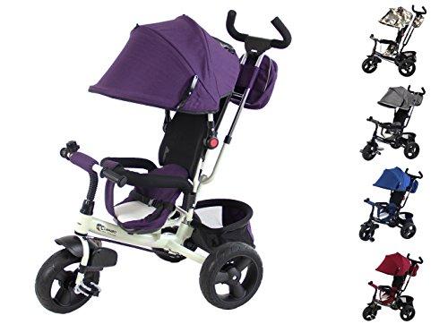 Clamaro \'Buttler GT\' 4in1 Kinderwagen Dreirad ab 1 Jahr mit lenkbarer Schubstange, flüsterleise Gummireifen und Sonnendach, durch 4-Fach Umbau für ab ca. 1-5 Jahre geeignet, Weiß/Lila