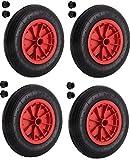 Pneu en caoutchouc gonflable 35,6cm pneumatique Roue de brouette 3.50–8de remplacement 4 Tyre rouge/noir