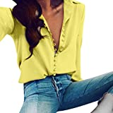 Kanpola Oversize Plaid Blouses, Women Casual Sexy V Neck Stripe Long Sleeve Shirts Loose Shirt Tops (12, A-Yellow)