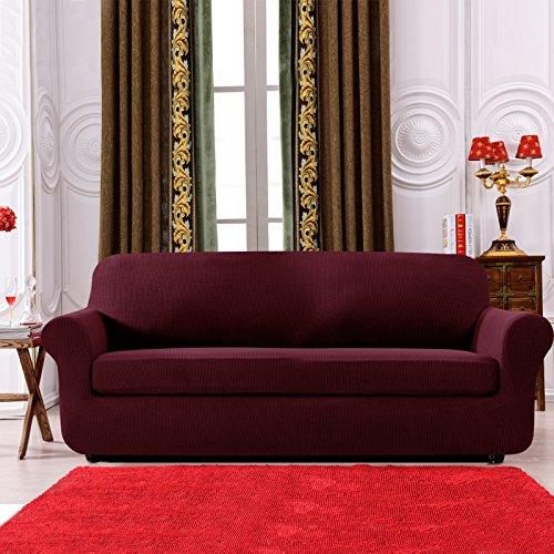 Subrtex 2 Stück kariert Sofabezug Sofahusse Sesselhusse Stretchhusse Sesselbezug Sofaüberwurf Couchhusse Spannbezug in verschiedenen Farben (2-Sitzer Sofa, Weinrot)