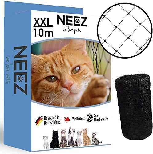 NEEZ XL Katzennetz für Balkon & Fenster I Robustes Schutznetz inkl. Befestigungsset I Befestigung des Katzenschutznetz für Balkon ohne Bohren