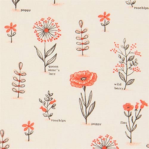 Cremefarbener Baumwollstoff mit korallenroten Blumen -