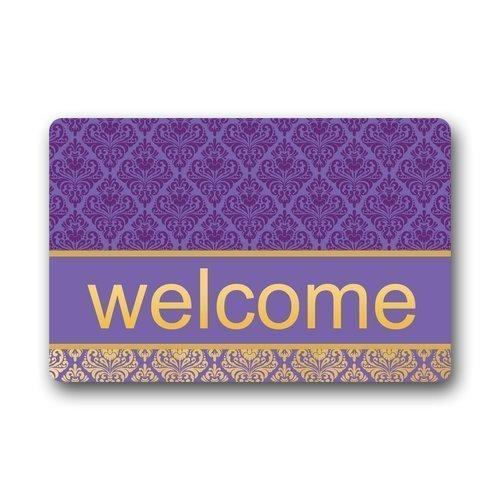 Non-Slip Rubber Backing Durable Indoor/Outdoor Doormat Door Mats - Purple Damask Series Welcome indoor door mats green rug