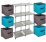 Ensemble de 7 pièces : 1 Meuble de rangement étagère casier + 6 Boîtes de rangement tiroirs - Coloris TAUPE et BLEU TURQUOISE