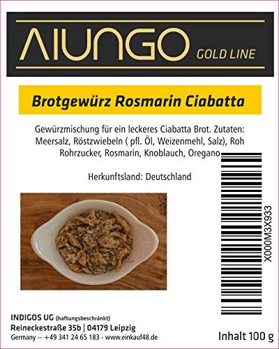 Viungo® Goldline - Brotgewürz Rosmarin Ciabatta - 100g - Nachfüllbeutel - für leckeres Brot und Backwaren, zu Hause, Kindergarten, Schule, Party, Betrieb