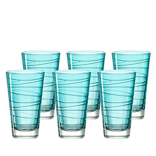 Leonardo 018238 Vario Set 6 Becher groß Struttura laguna, Glas, türkis, 7.50 x 7.50 x 12.60 cm, 6 Einheiten