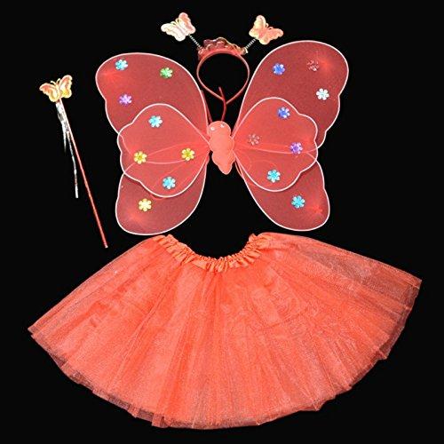 Kasit 4Pcs gesetztes feenhaftes Prinzessin-Schmetterlings-Partei-Kostüm-Flügel-Stab-Stirnband-Kleid-Mädchen-Fee-Rod-feenhafte Prinzessin-Kostüm-Schule-Erscheinen - (Kostüm Garten Mädchen)
