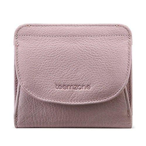 Kleine Brieftasche Brieftasche Frauen (Geldbörse Damen Klein Leder RFID Schutz mit Münzfach Mini Portemonnaie Portmonee Brieftasche Frauen Geldbeutel(Rosa))