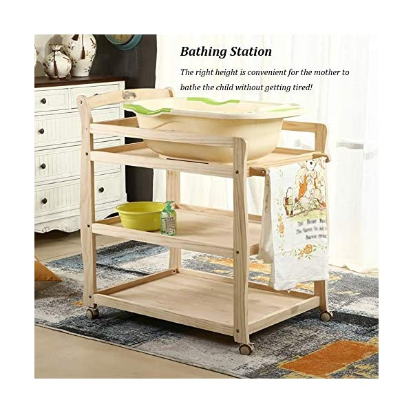 Baby Changing Table Wooden On Wheels - Infant Newborn Nursery Mobile Diaper Station Height Adjustable, Baby Cot (Color : Green) GUYUE 3-gear higth adjustment, the height can be adjusted freely according to the height of the mother. Guardrail: Guardrail height 13cm, Protect your baby's delicate body. Strong and sturdy wood construction, Pine wood production, health and Environmental Protection.(Load bearing 150kg) 8