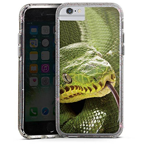 Apple iPhone 6s Plus Bumper Hülle Bumper Case Glitzer Hülle Natter Schlange Snake Bumper Case Glitzer rose gold