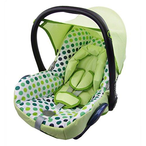 Babys-Dreams Ersatzbezug für Maxi-Cosi CabrioFix 6 tlg. PISTAZIEN + GRÜNE PUNKTE *NEU* Bezug für Babyschale Sommerbezug Cabrio Fix