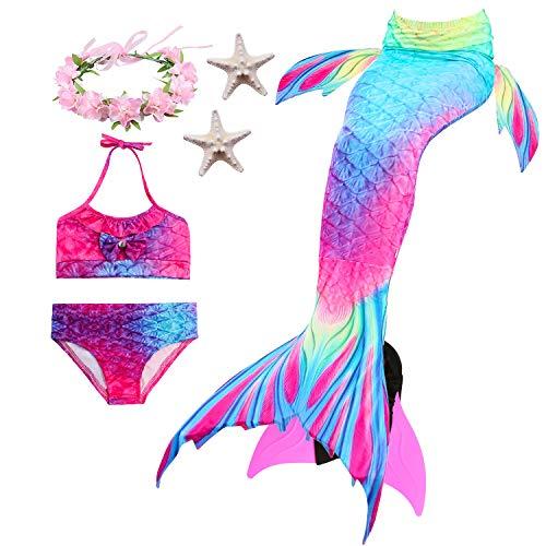 Kostüm Mädchen Ref - Paisdola Mädchen Meerjungfrau Schwanz Bikini Set Kinder Schwimmen Kostüm enthält Flossen und Girlanden und Seesterne (DH02MS-Pink,120)