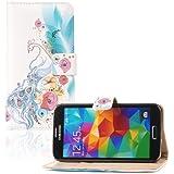 tinxi® Kunstleder Tasche für Samsung Galaxy S5 / S5 NEO Schutzhülle Flipcase Schale Cover Etui Skin Standfunktion mit Karten Slot Pfau Muster